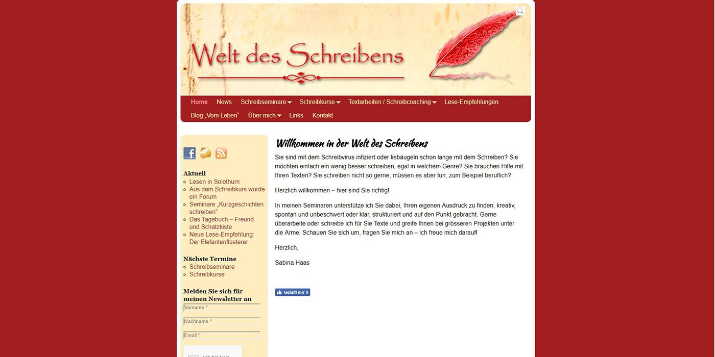 Welt des Schreibens Sabina Haas Schweiz